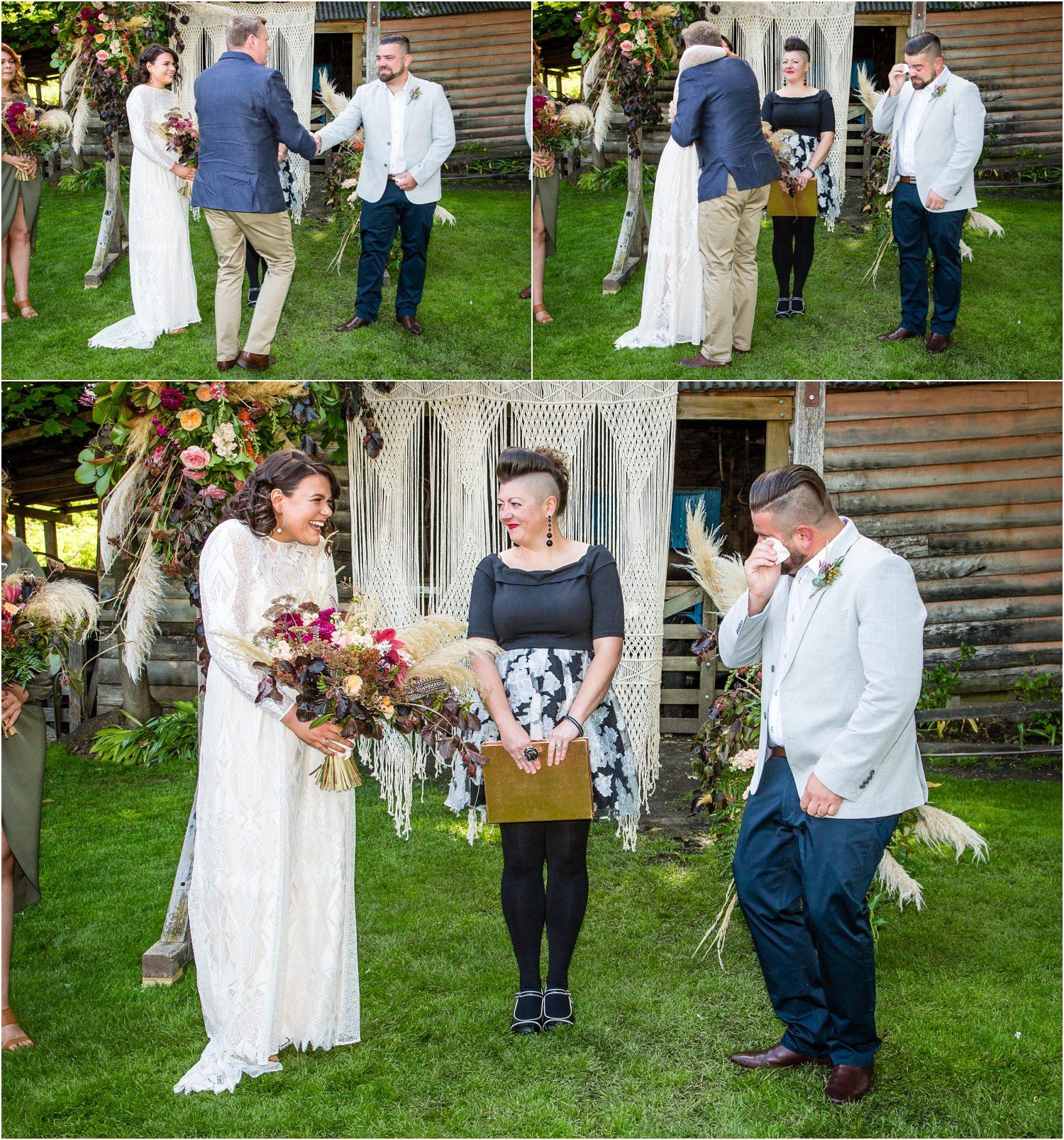 Wedding ceremony at Cardrona