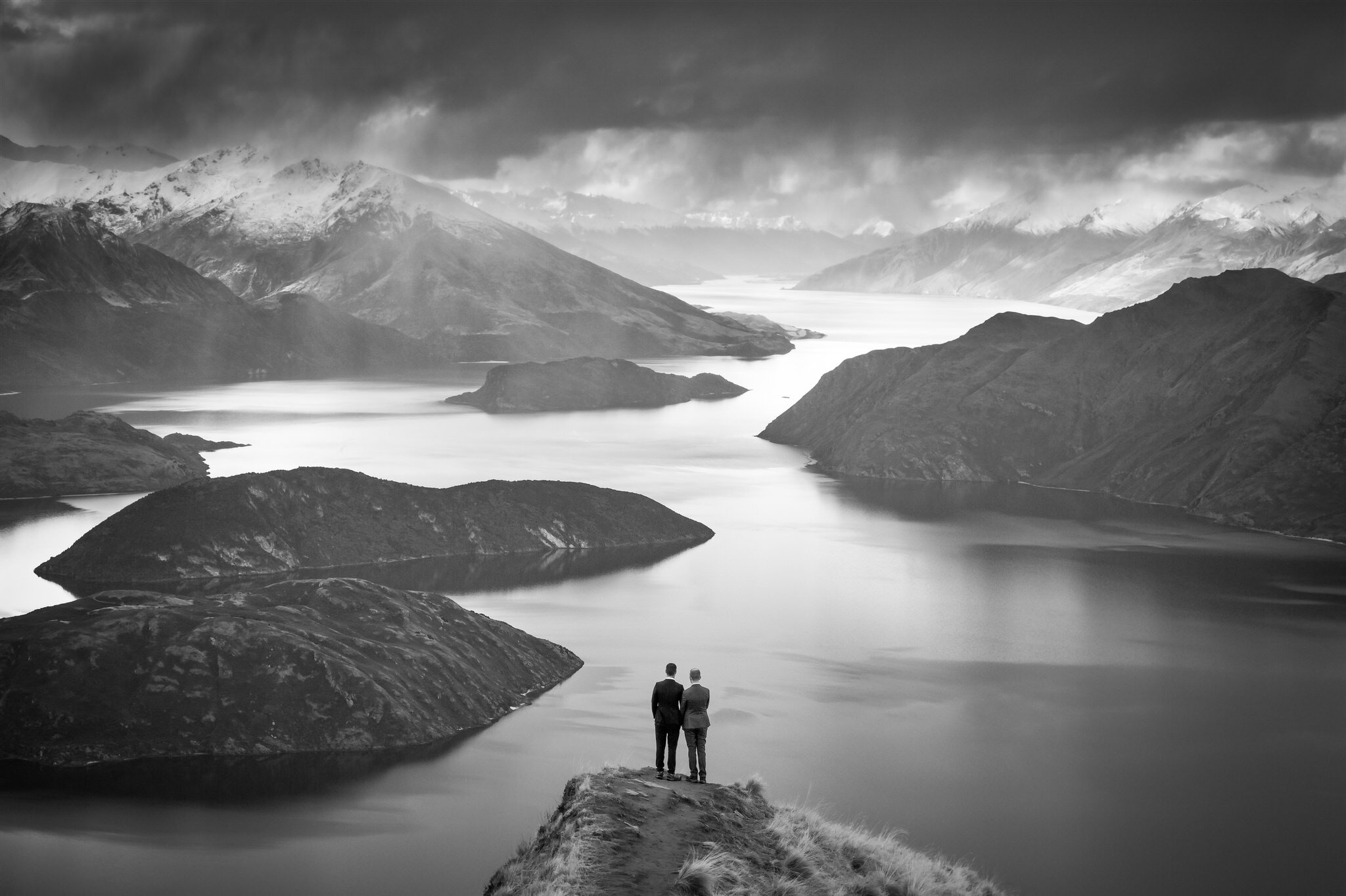 Black and white epic Wanaka lake photography