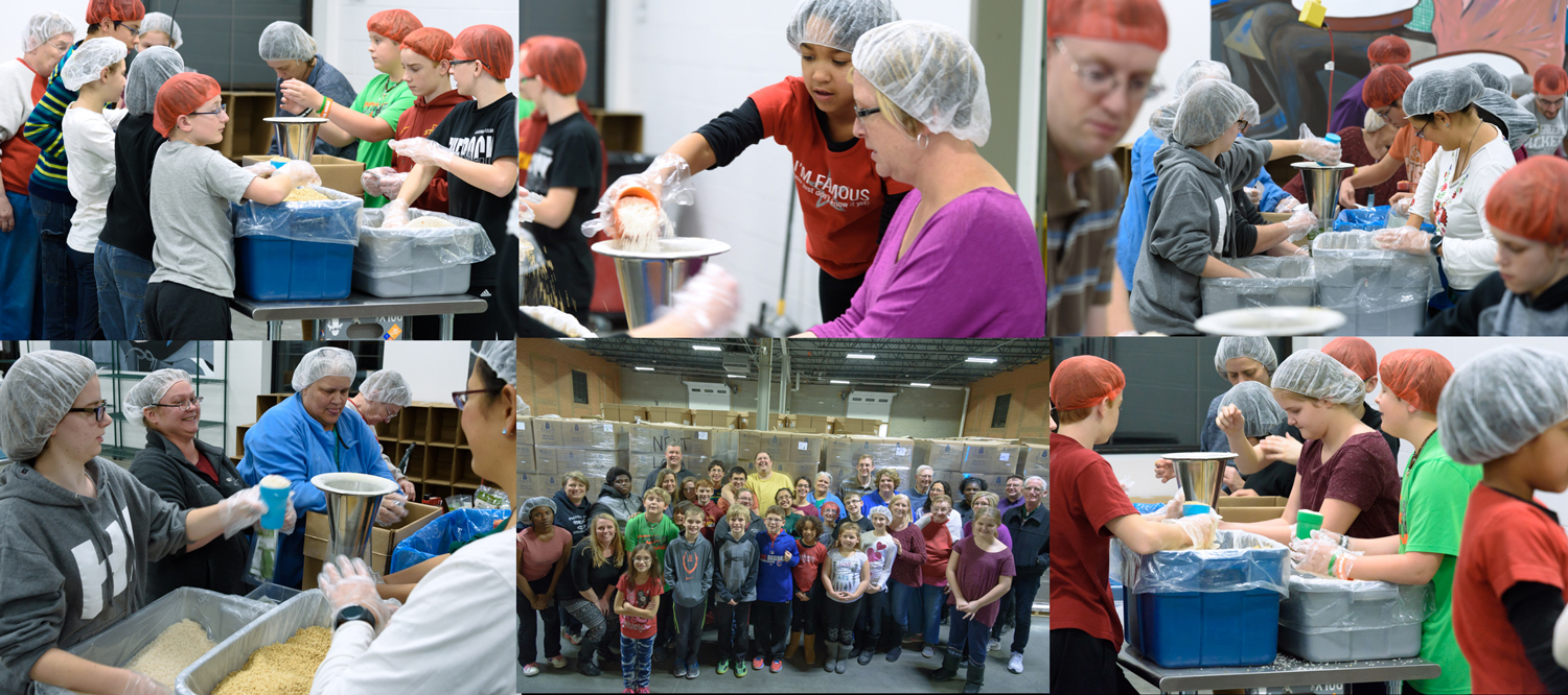 Hope church of the nazarene volunteers packaging at the meals from the heartland