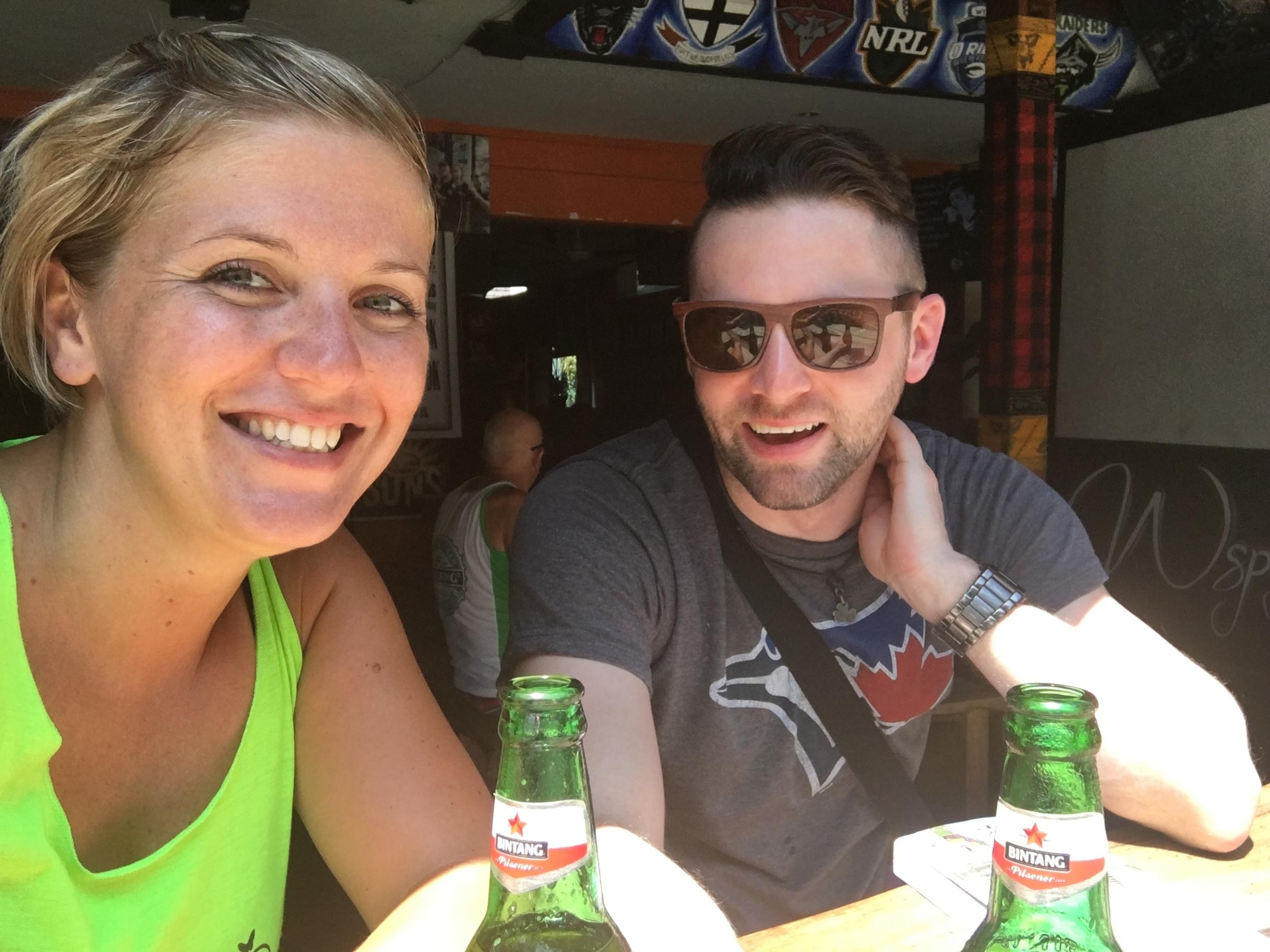 Sean and I enjoying some Bintangs