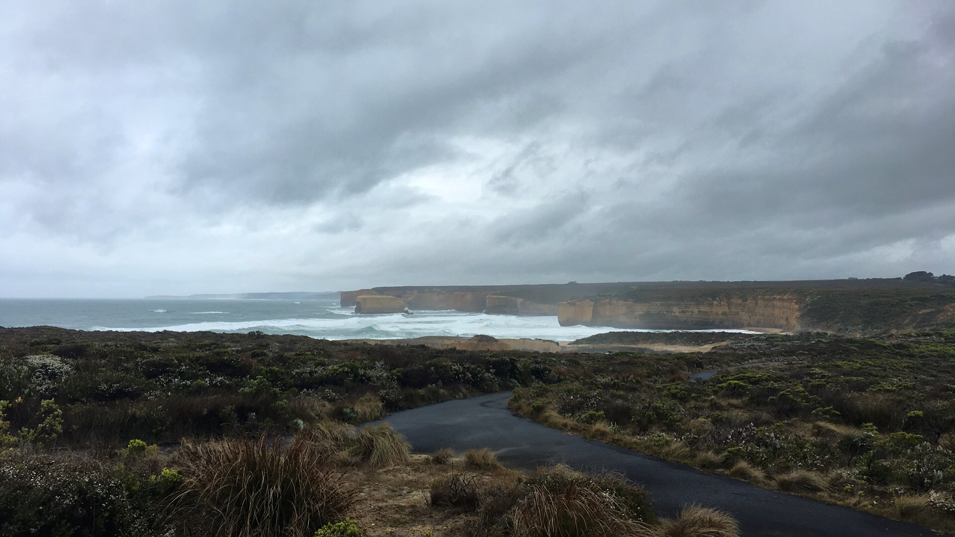 A cold and rainy day on the Great Ocean Road, Australia