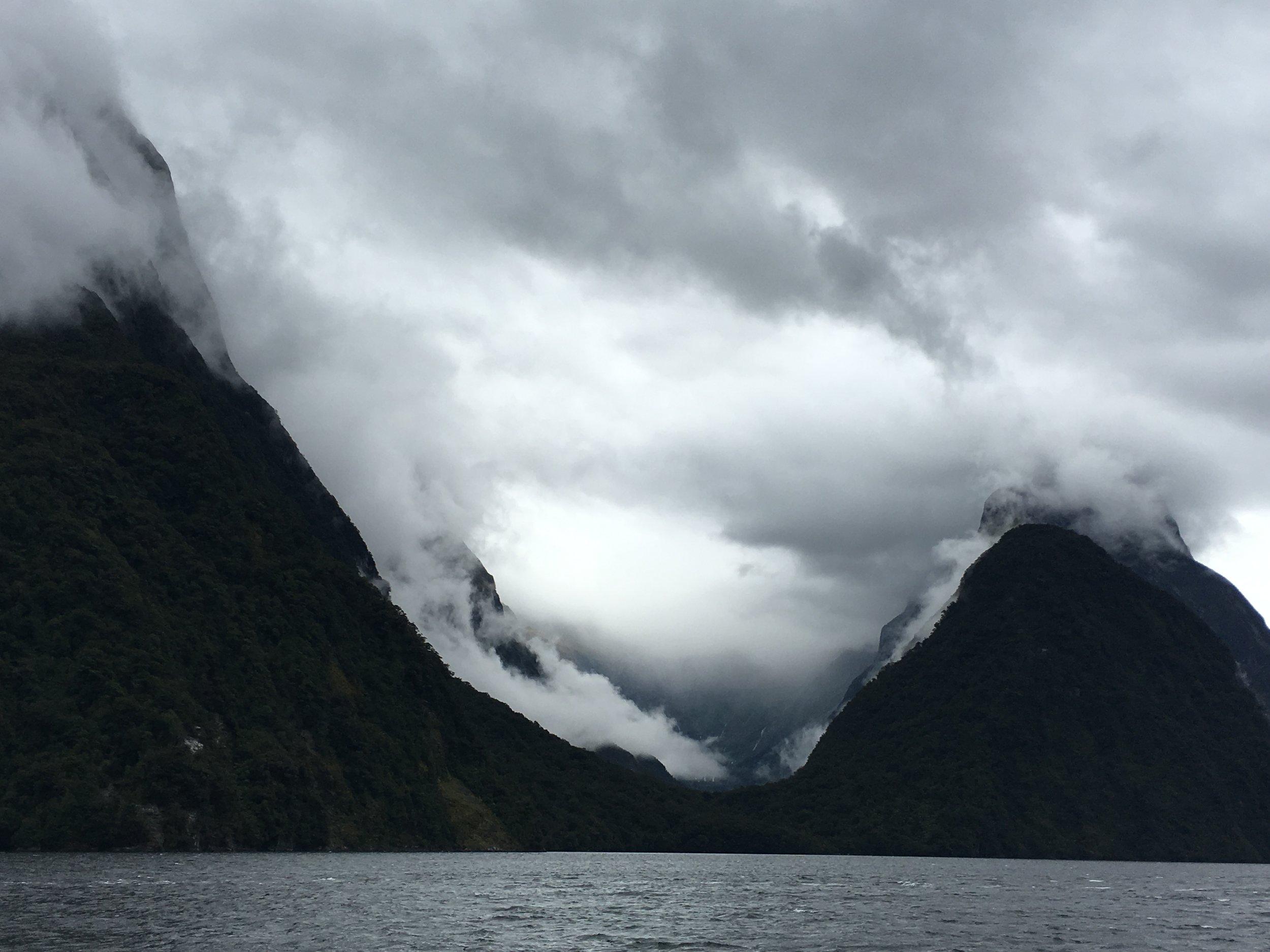 Mitre Peak hiding under the clouds