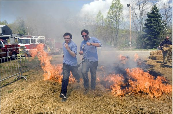 Credit: Jessica Kourkounis for The New York Times   Tough Mudder founders, Guy Livingstone and Will Dean testing out a burning obstacle at their very first dry run.