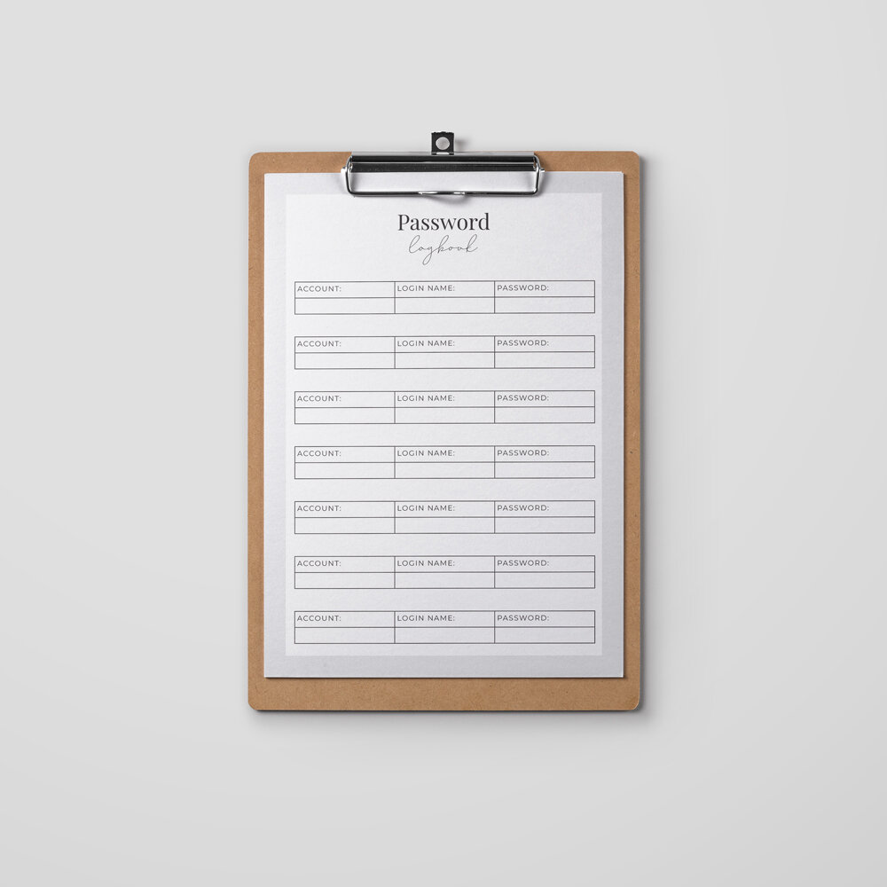 Password Logbook - This is a printable page to help you keep track of your login and password details for your website, domain, email, newsletter service and more