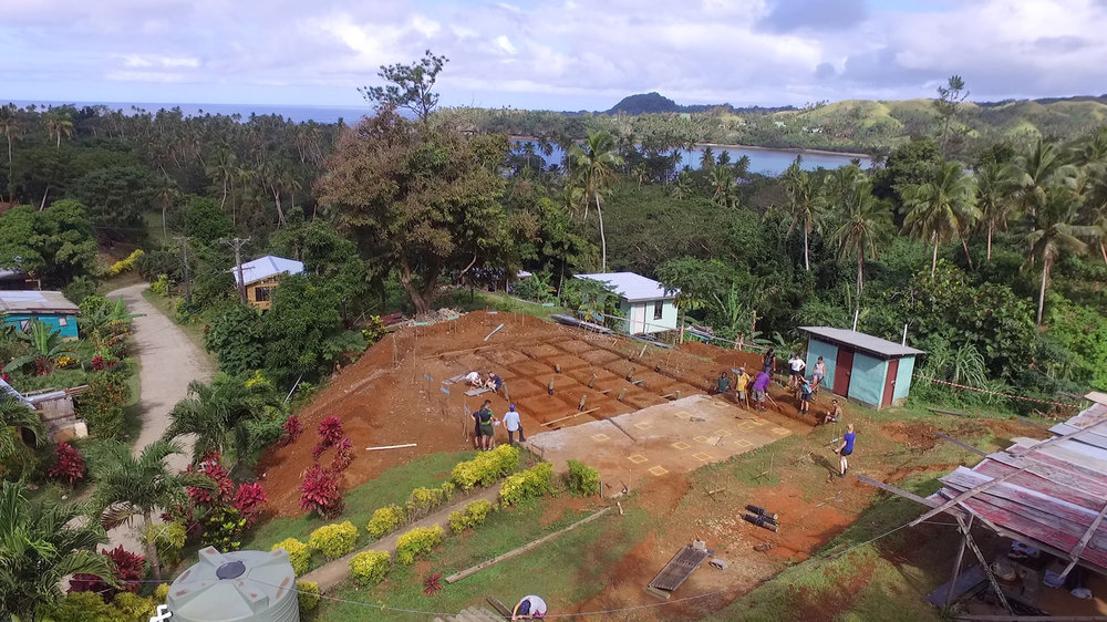 An aerial view from Vivili at the end of Week 1