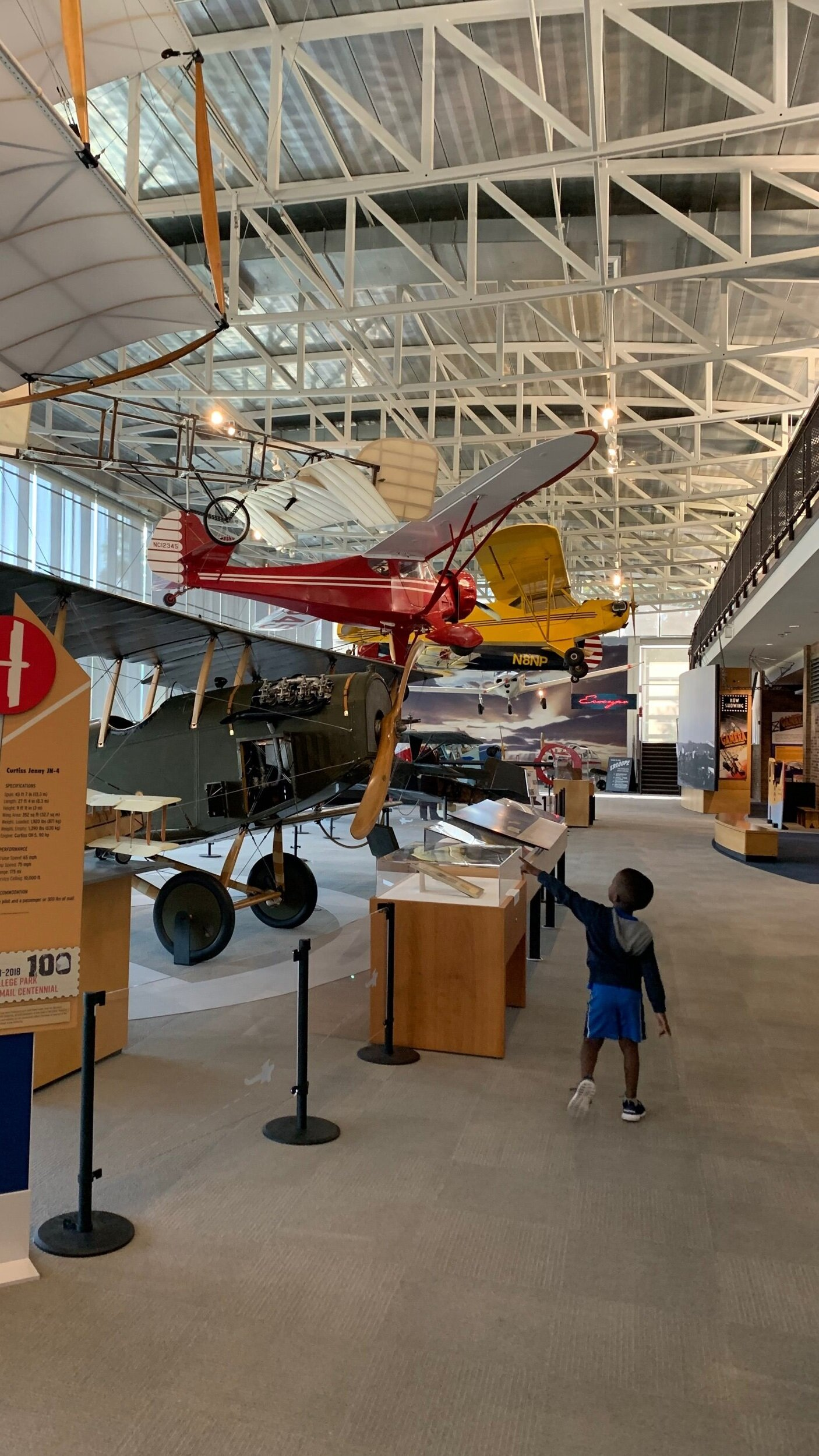 Planes suspended with the ceiling of the College Park Aviation Museum