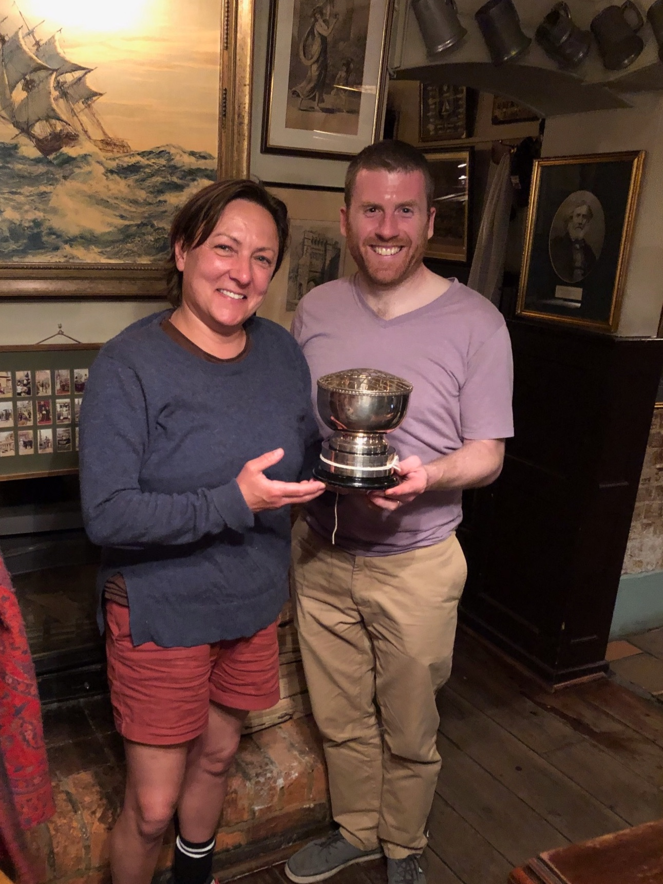 Giles Munn and Wendy Carling celebrating their 2019 victory. You have a year to clean the cup Giles!!