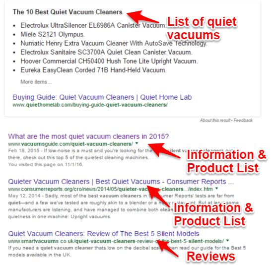 Quiet vacuum cleaner search rankings