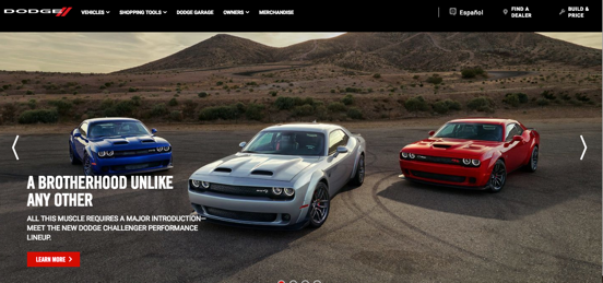 The Dodge website shows their fastest, noisiest cars set on a desert background, playing on the romantic notions of the American west.