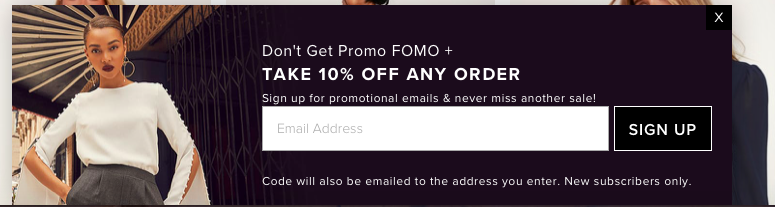 Email Prompt from Lulus.com