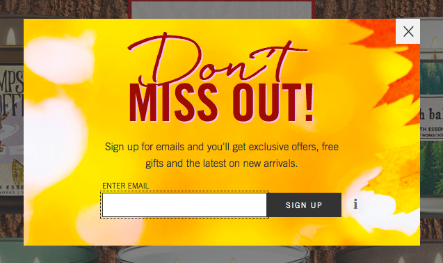 Email Prompt from Bath and Body Works