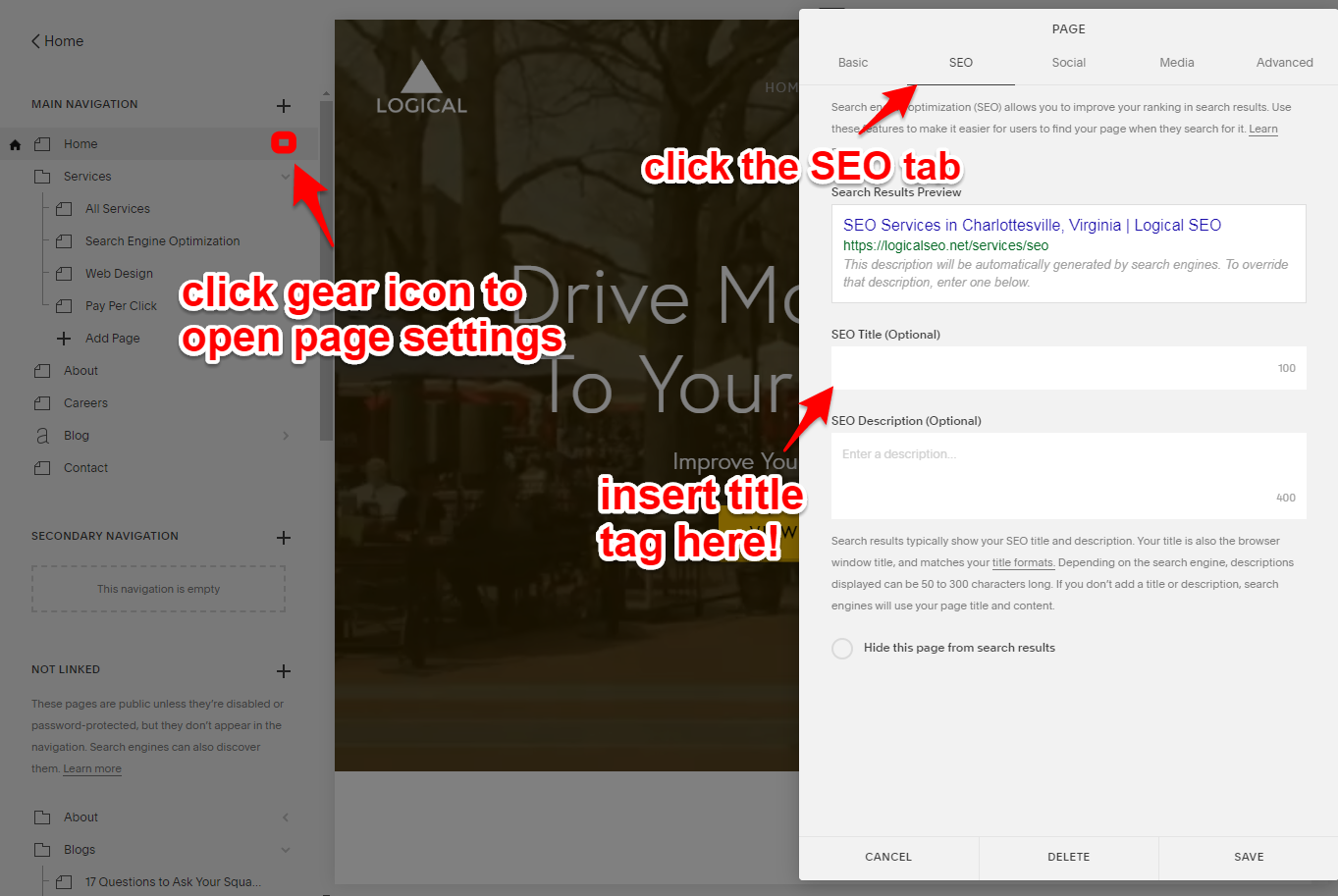 how to insert Squarespace title tag for SEO