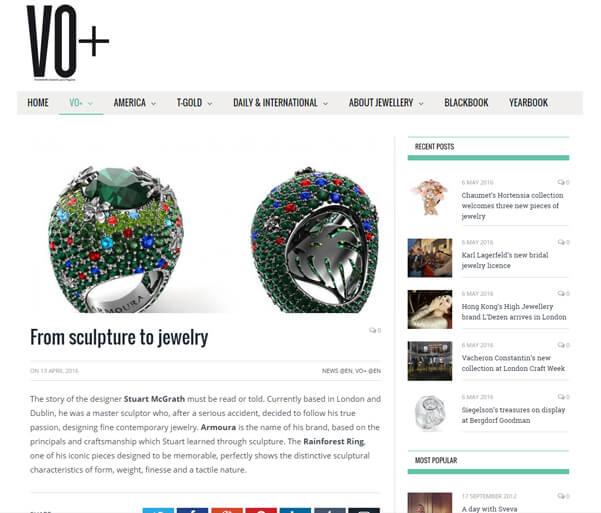 - April 2016, Vincena Oro luxury jewellery magazine, Italy.