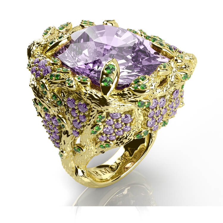 Gold and Amethyst Wisteria ringjpg