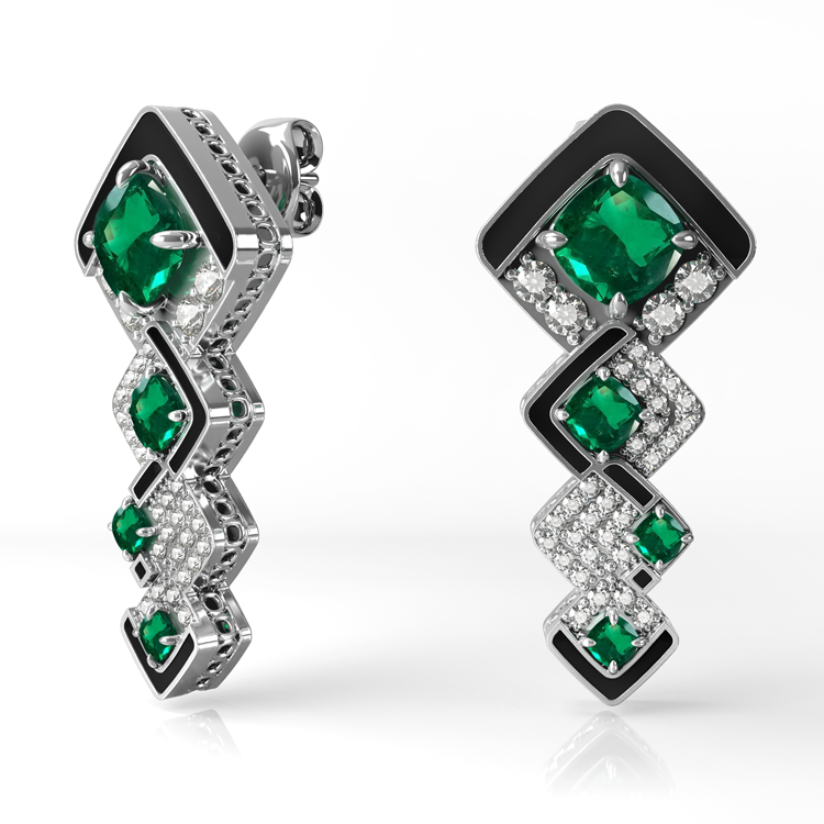 Emerald, diamond and black onyx Drop Earrings.jpg