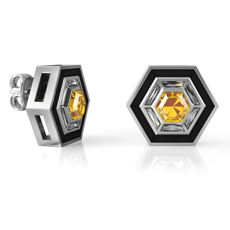 Black Enamel, diamond hexagon earrings.jpg