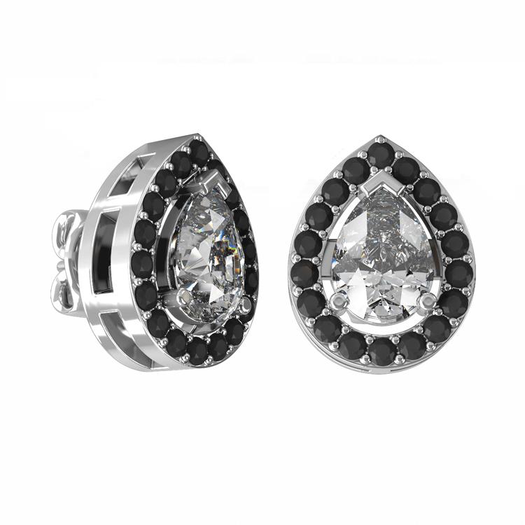 Pear cut diamond earrings
