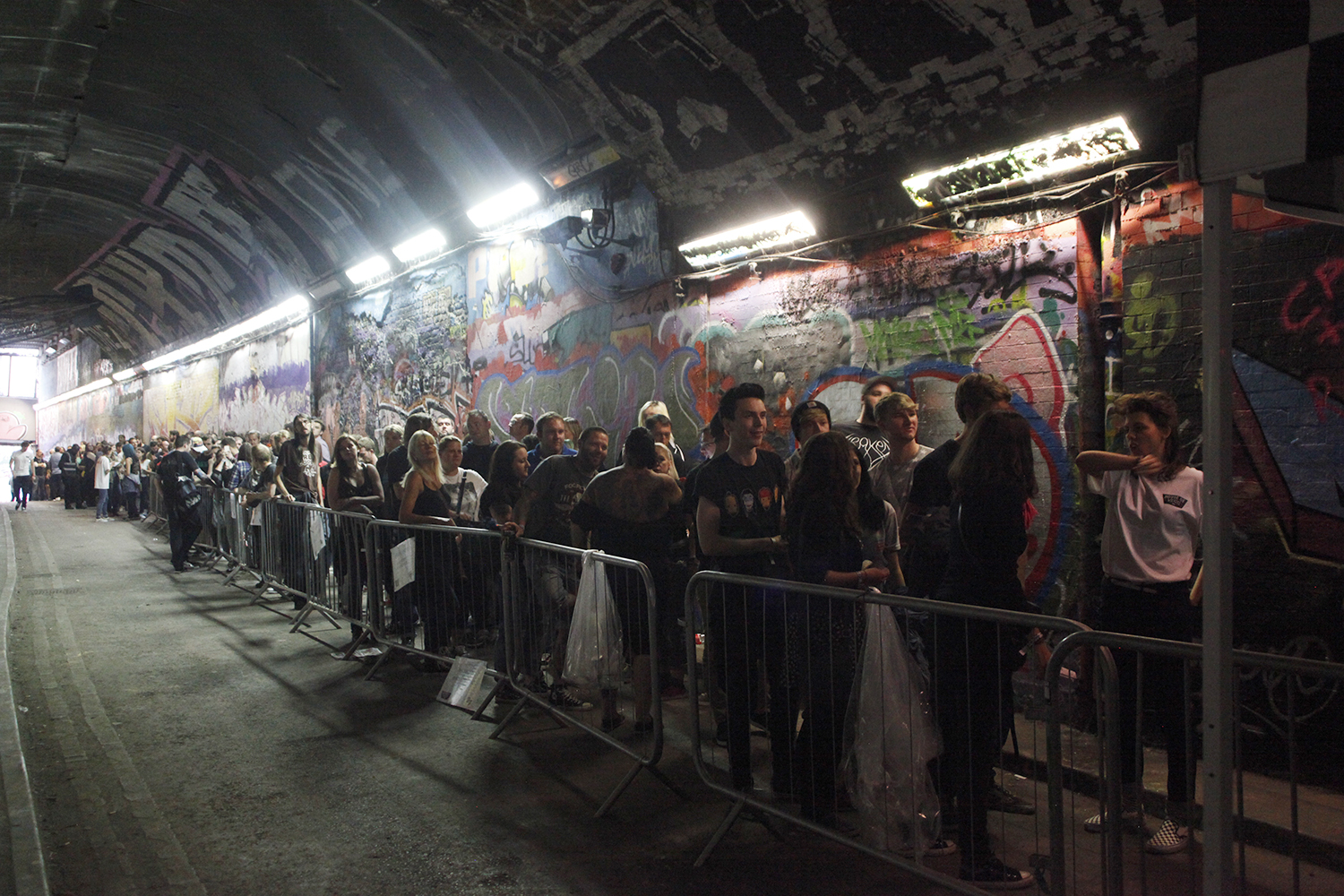 Queueing guests in Leake Street Tunnel