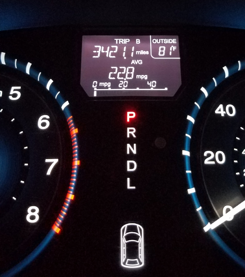3421.1 miles. I snapped this shot when we pulled back into our driveway at 1am.