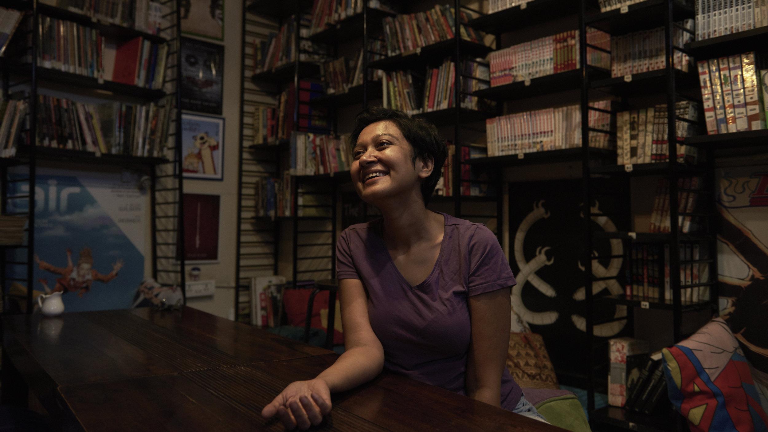 Bidisha Basu along with her husband Utsa Shome started Leaping Windows, a library and café for comic books, graphic novels and manga.