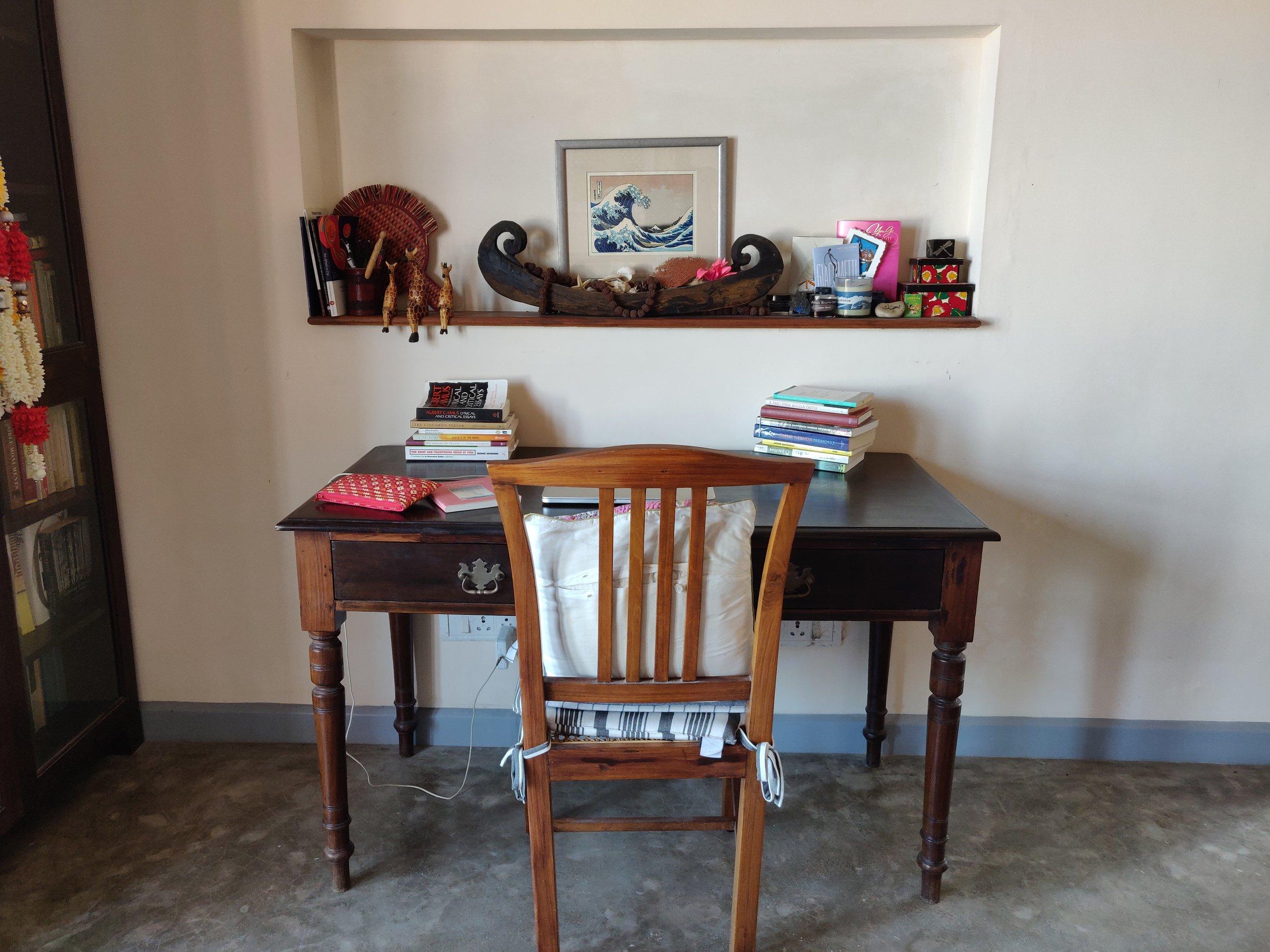 Tishani's writing desk.