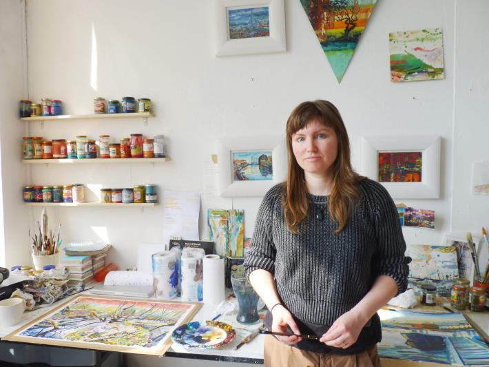 Abigail in her studio