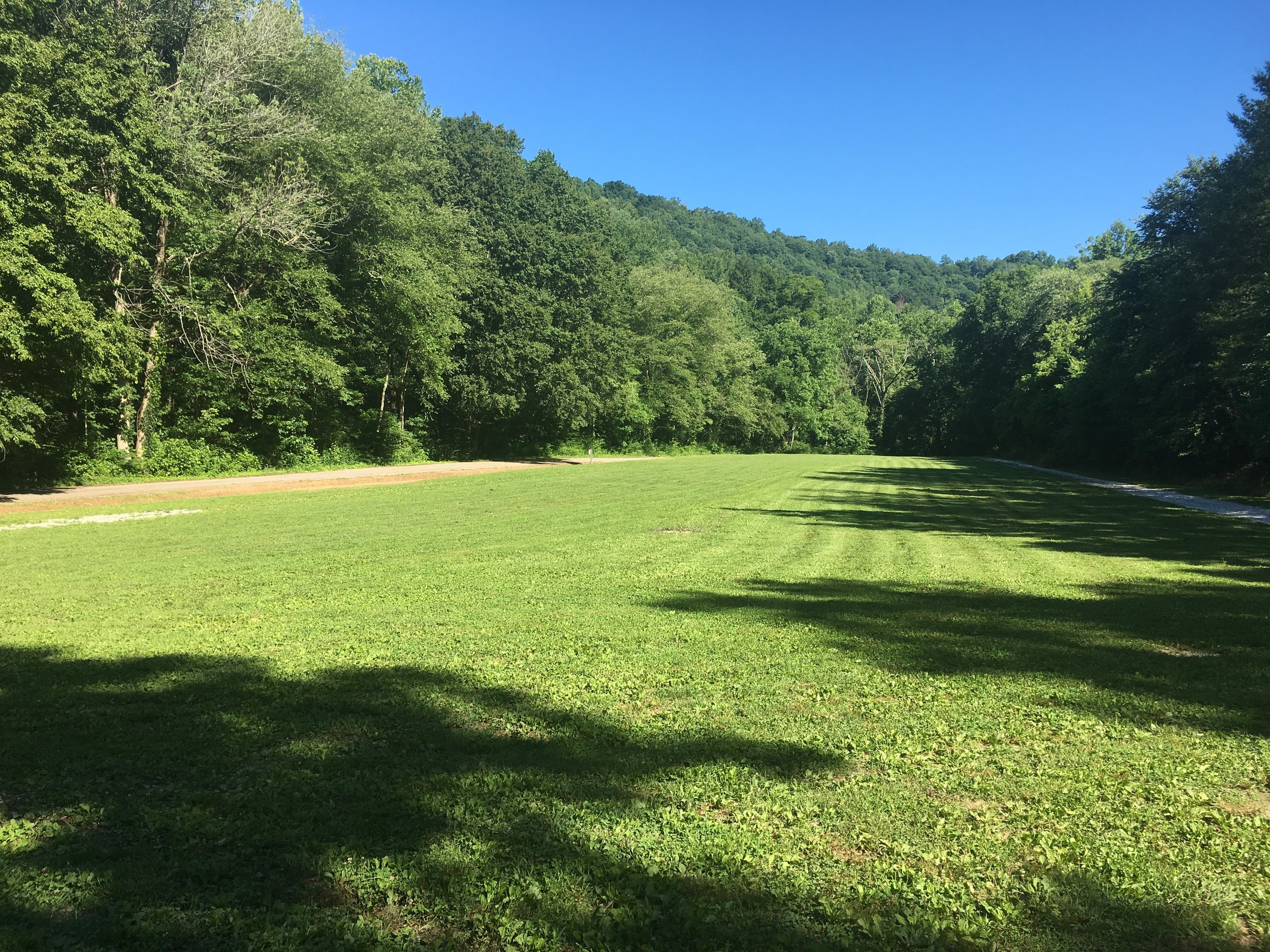 The freshly mowed Peabody Trailhead: where we will start and finish the Redbird Crest 100K