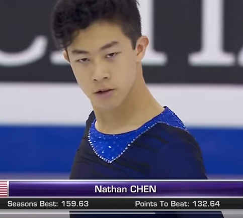 Nathan Chen at the start of his winning Junior Grand Prix free skate.