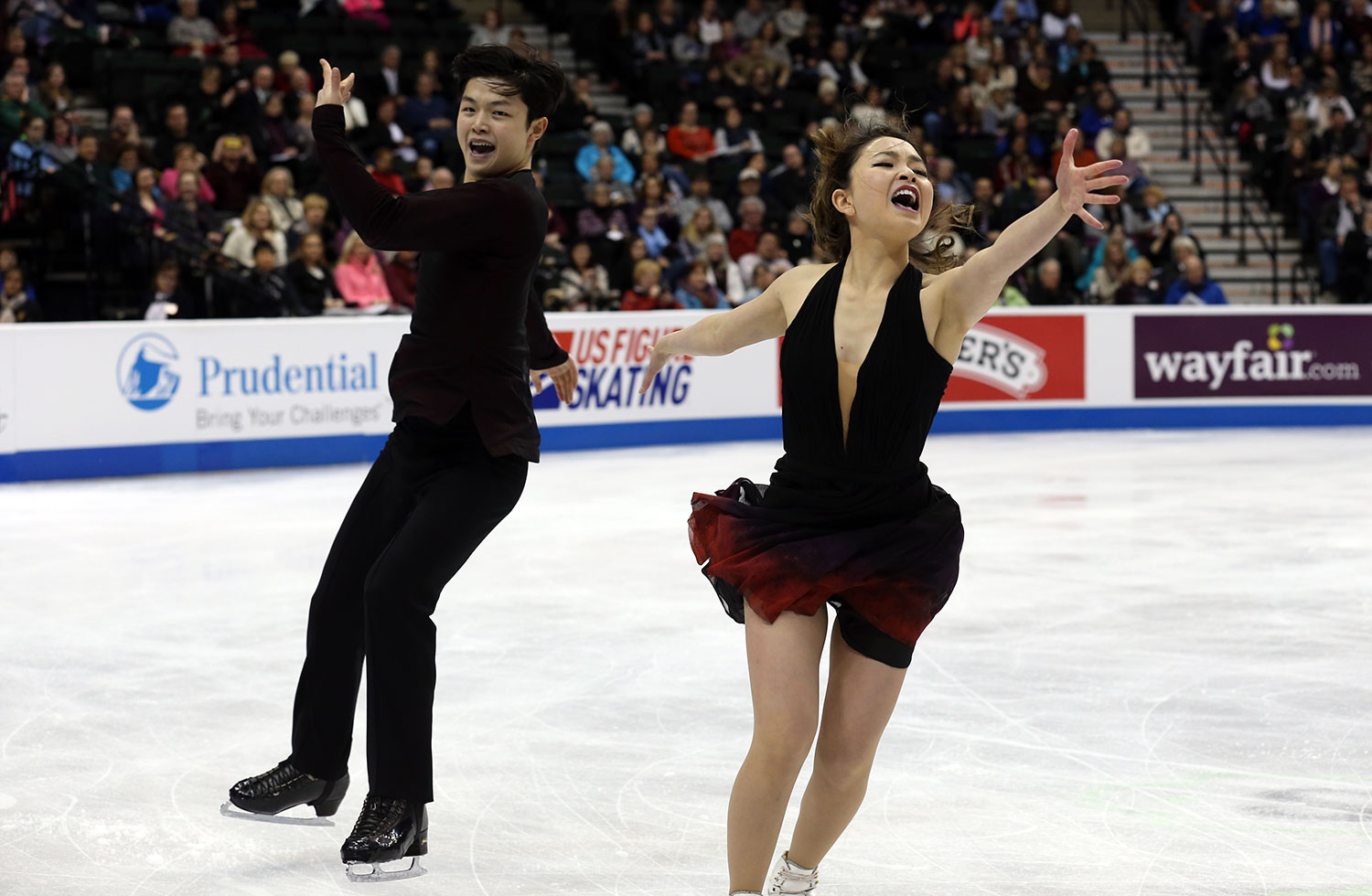 Maia and Alex Shibutani exult on the way to their first U.S. title.  (U.S. Figure Skating / Jay Adeff)