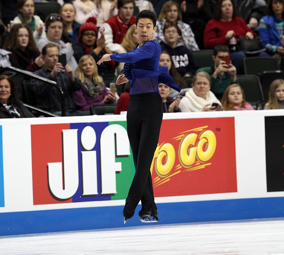 Nathan Chen doing one of his history making jumps. (U.S. Figure Skating / Jay Adeff)