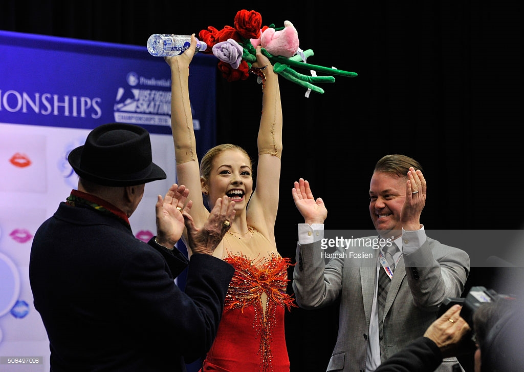 A triumphant Gracie Gold at January's U.S. Figure Skating Championships.  She has not had such moments internationally.  (Getty Images / Hannah Foslien)
