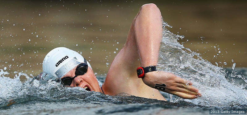 Becca Mann in the 5-kilometer open water race at the 2013 World Championships.  (Getty Images)