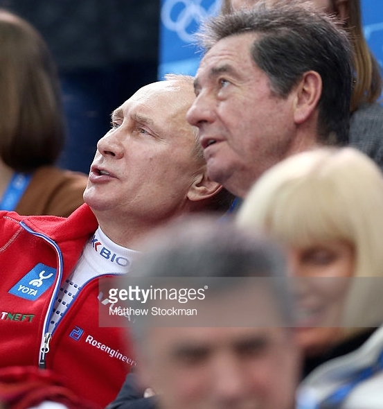 Russian President Vladimir Putin (left) and Ottavio Cinquanta at the 2014 Sochi Olympics.