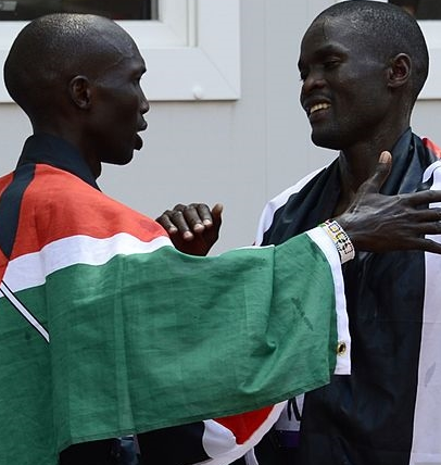Kenyans Stephen Kiprotich (l) and Abel Kirui, the gold and silver medalists in the 2012 Olympic marathon. (Daniel Garcia / Getty Images)