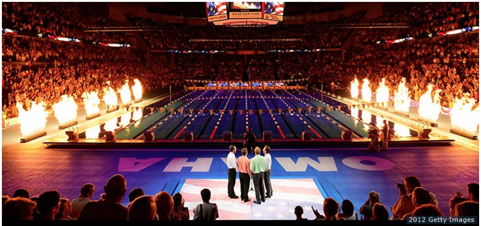 The pizzazz of the 2012 Olympic Swimming Trials in Omaha (Getty Images)