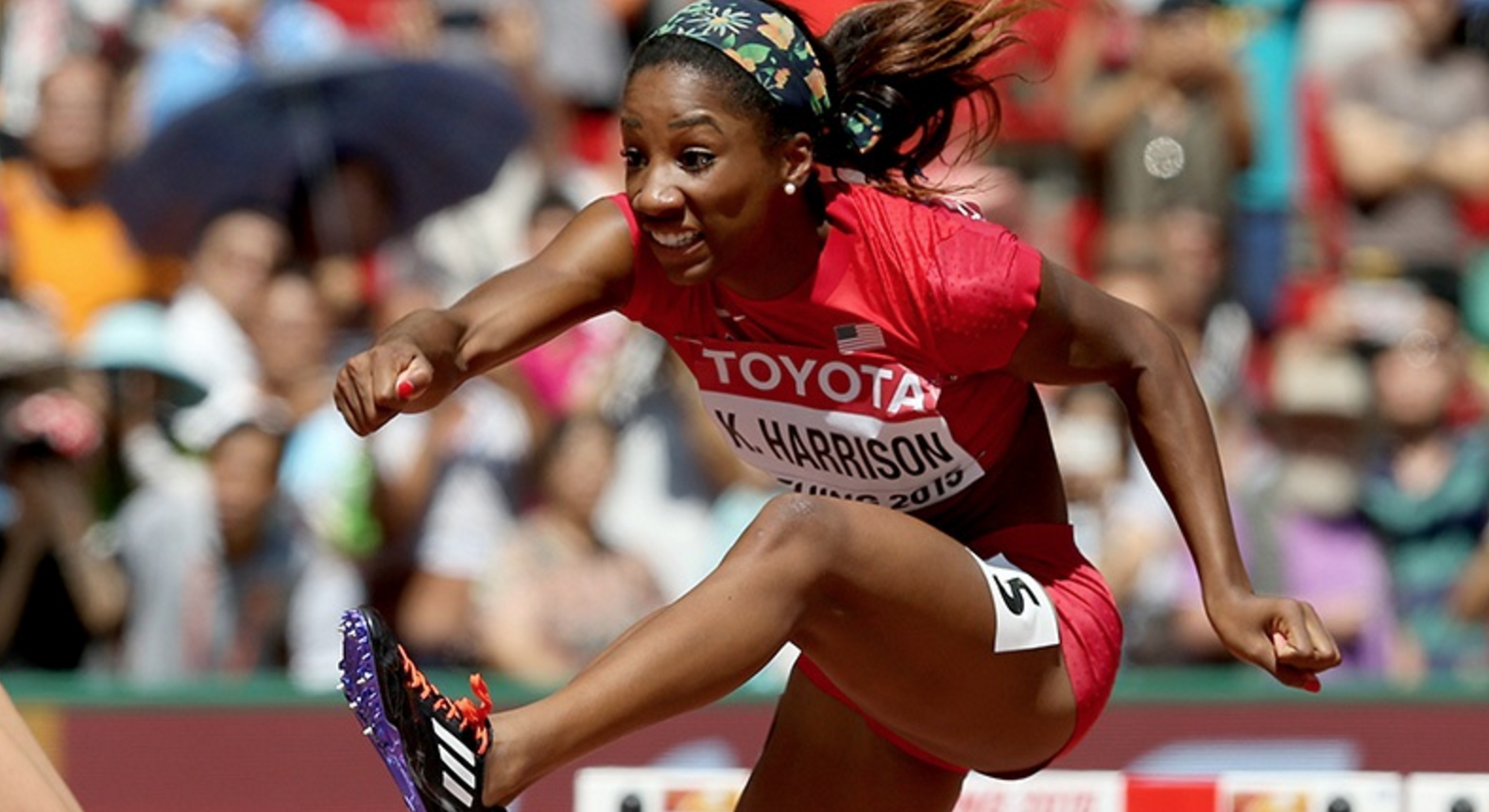 Keni Harrison competing at the 2015 World Championships in Beijing.  (Getty Images)