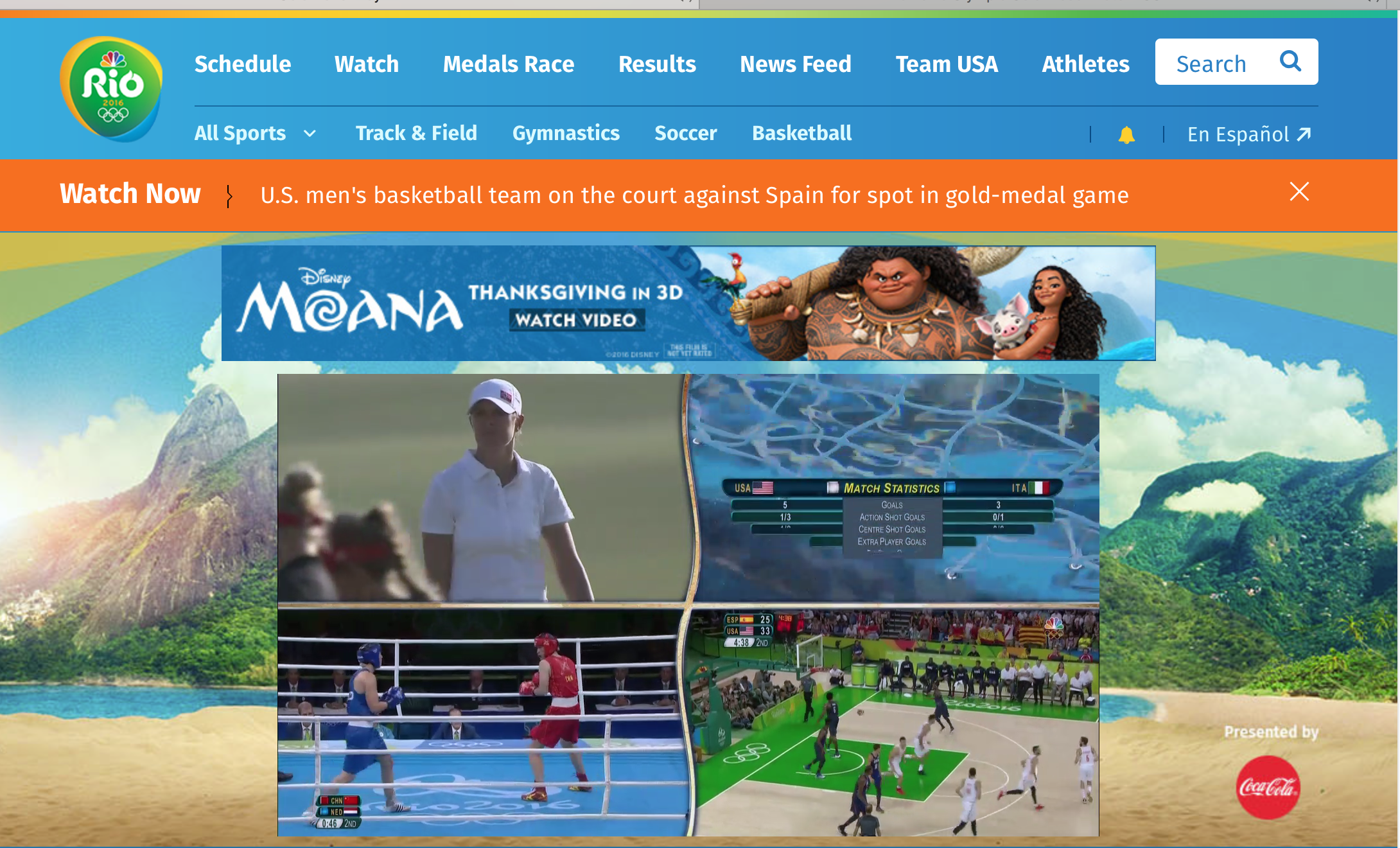 NBC's Olympic page on a computer, with Gold Zone displayed.