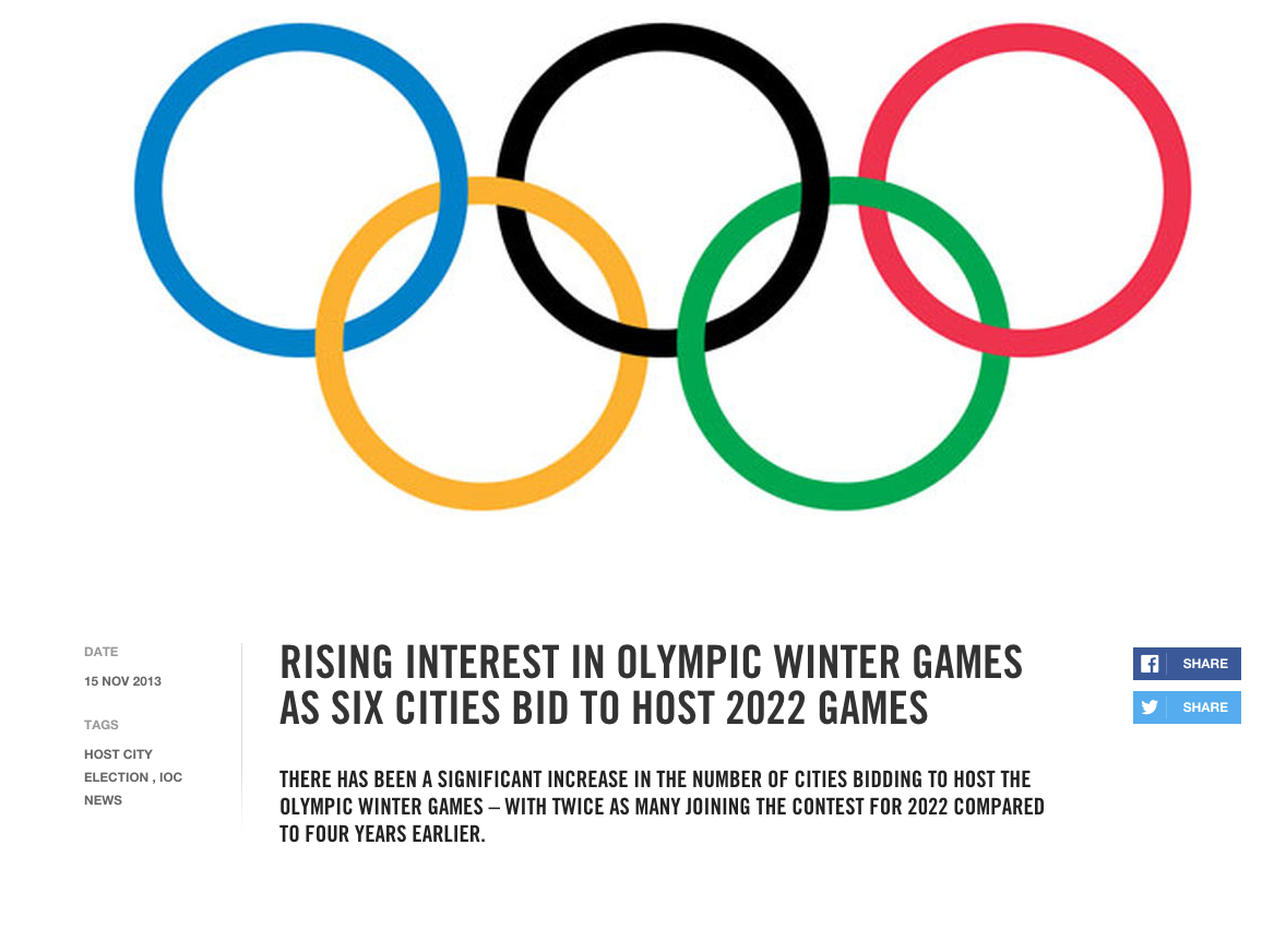 This headline on a Nov. 15, 2013 IOC press release soon looked pretty silly.