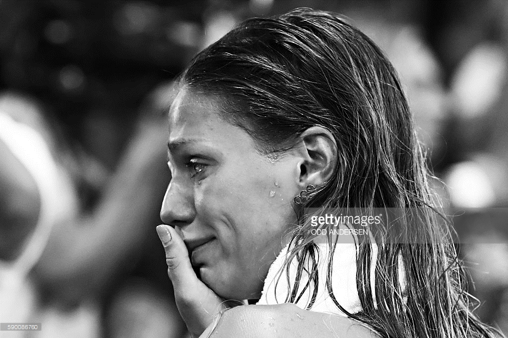 Yulia Efimova in tears after rivals treated her with holier-than-thou disdain.  (Getty Images)