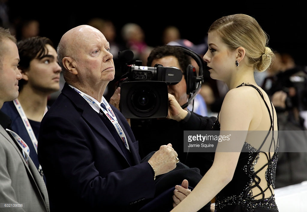 Frank Carroll and Gracie Gold looked like ships passing in the night after the free skate at nationals