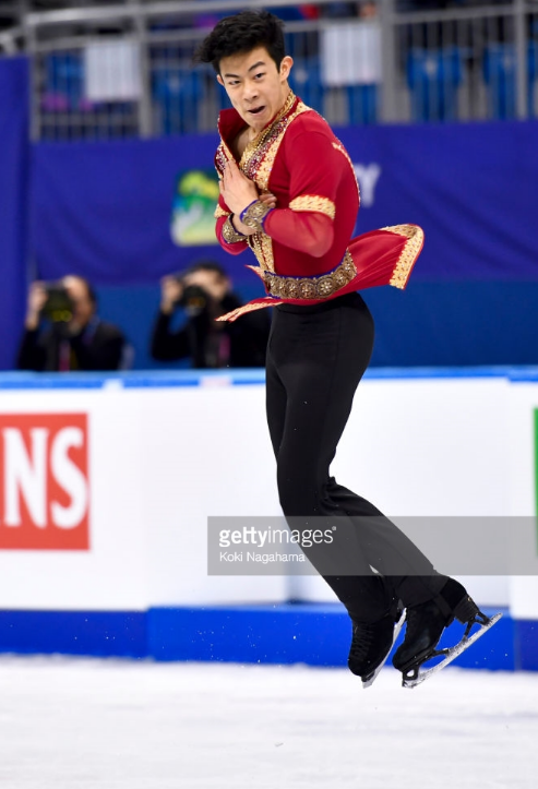 Nathan Chen executing one of the quadruple jumps that have allowed him to leap ahead in figure skating.