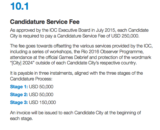 """Screenshot from page 46 of an IOC document entitled, """"   Candidature Process Olympic Games 2024   """""""