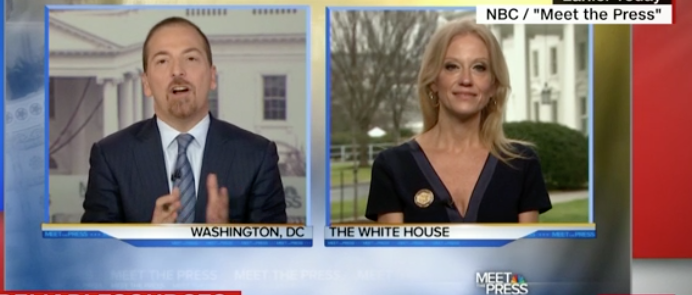 """Kellyanne Conway, a senior counselor to President Trump, delivering her immediately infamous """"alternative facts"""" explanation on Meet the Press. IOC President Thomas Bach must have been taking notes."""