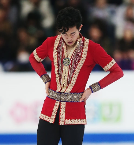 A disconsolate Nathan Chen at the end of his 2017 World Championships free skate. (Getty Images)