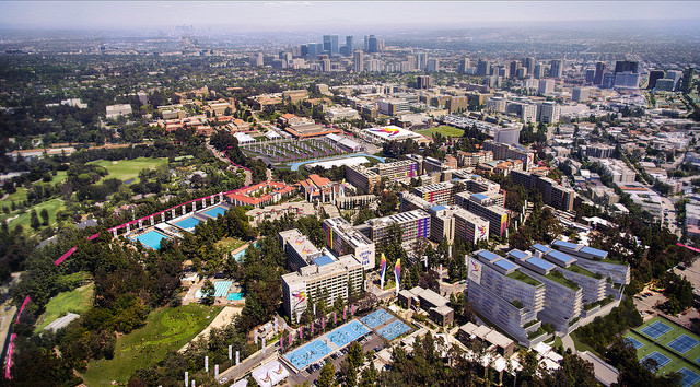 A rendering, in an aerial view, of what the UCLA campus (foreground) would look like during a 2024 L.A. Olympics.  (L.A. 2024 bid committee.)