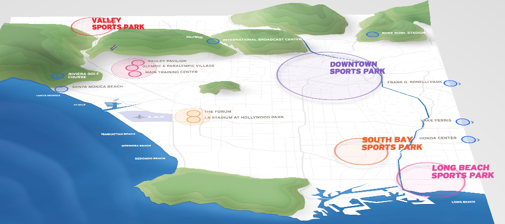 The L.A. venue plan is based on four clusters.  (L.A. 2024)