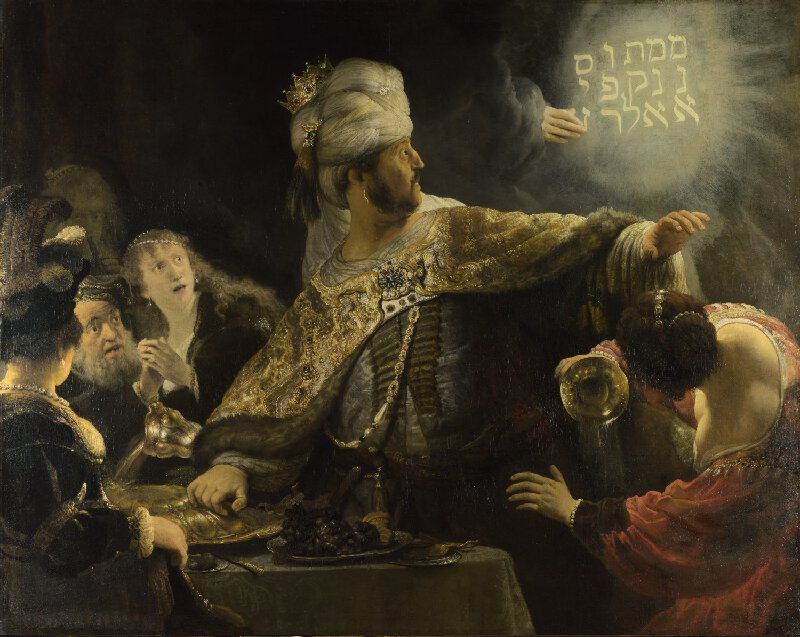 Rembrandt's depiction of Belshazzar's terrified reaction to the handwriting on the wall.