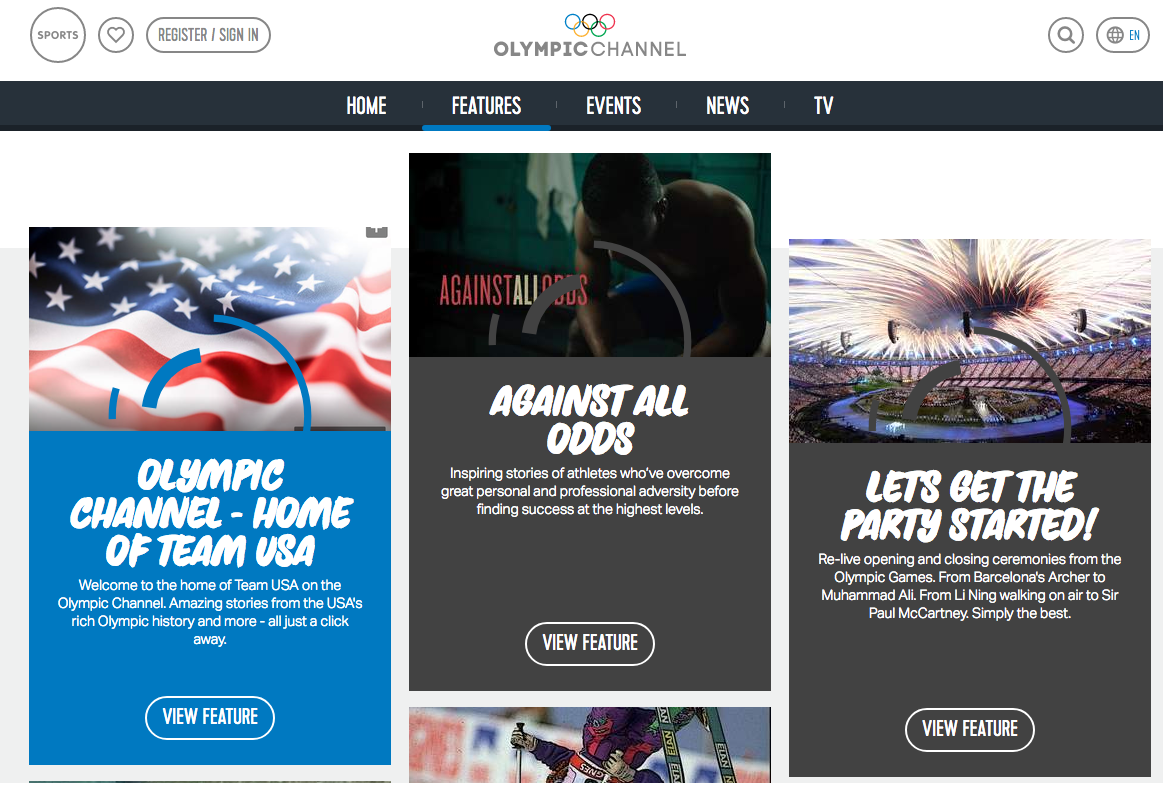The digital Olympic Channel's web page, with promotion of NBC's Olympic Channel, which debuts Saturday.