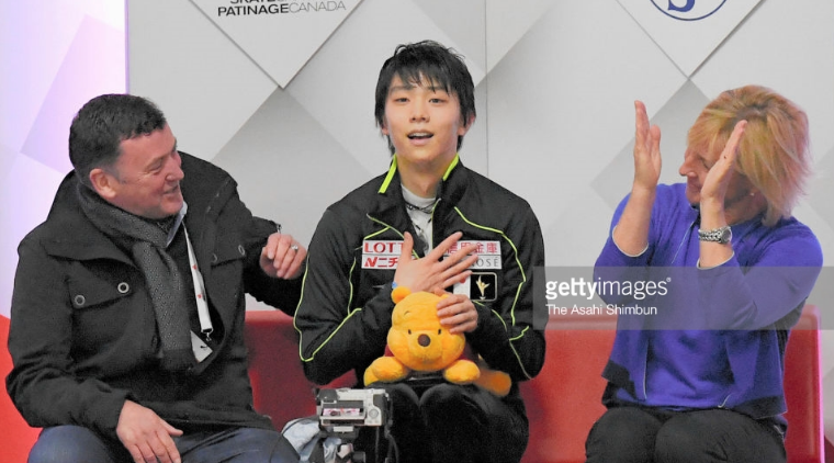 Japan's Yuzuru Hanyu reacts after beginning the Olympic season with an otherworldly, record-setting short program to music of Chopin in at last week's Autumn Classic in Quebec. It is the third time in the past four years Hanyu has used the same music.