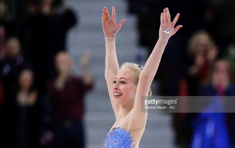 An exultant Bradie Tennell after her bronze-medal performance at Skate America.
